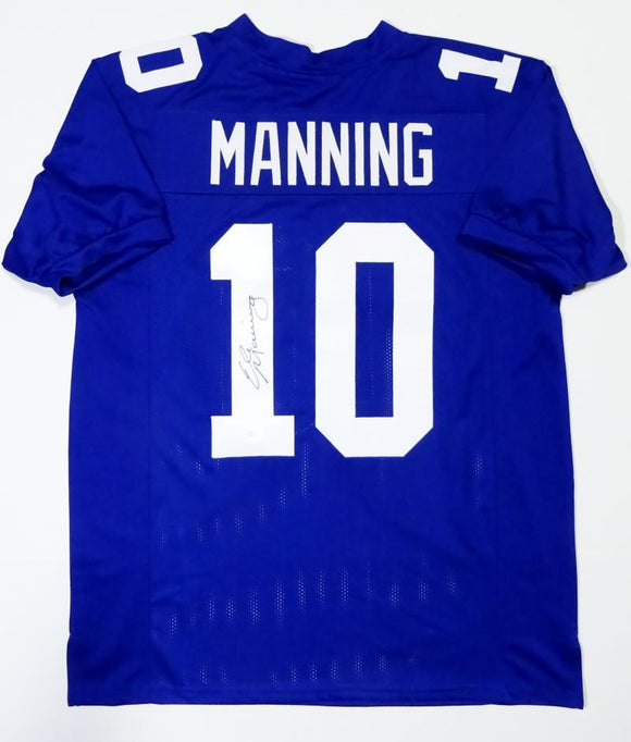 Eli Manning Autographed Blue Pro Style Jersey- JSA Authenticated
