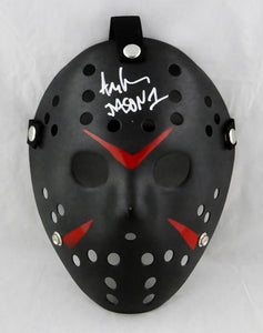 Ari Lehman Signed Friday The 13th Black Jason Mask w/Jason 1- Beckett Auth *White