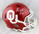 Baker Mayfield Autographed Oklahoma F/S Speed Helmet w/HT - Beckett Auth *Silver