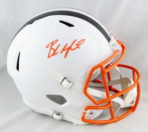 Baker Mayfield Autographed Cleveland Browns F/S Flat White Helmet- Beckett Auth *Orange