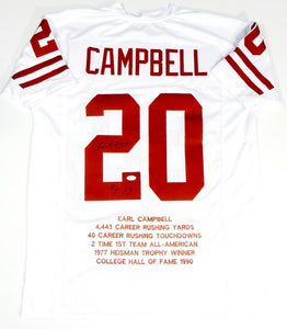 Earl Campbell Autographed White College Style Jersey STAT 4 w/ HT - JSA W Auth *2