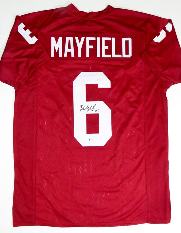 Baker Mayfield Autographed Red College Style Jersey With HT- Beckett W Auth