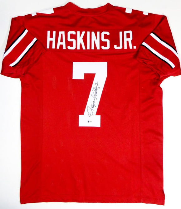 Dwayne Haskins Autographed Red College Style Jersey - Beckett Auth *7