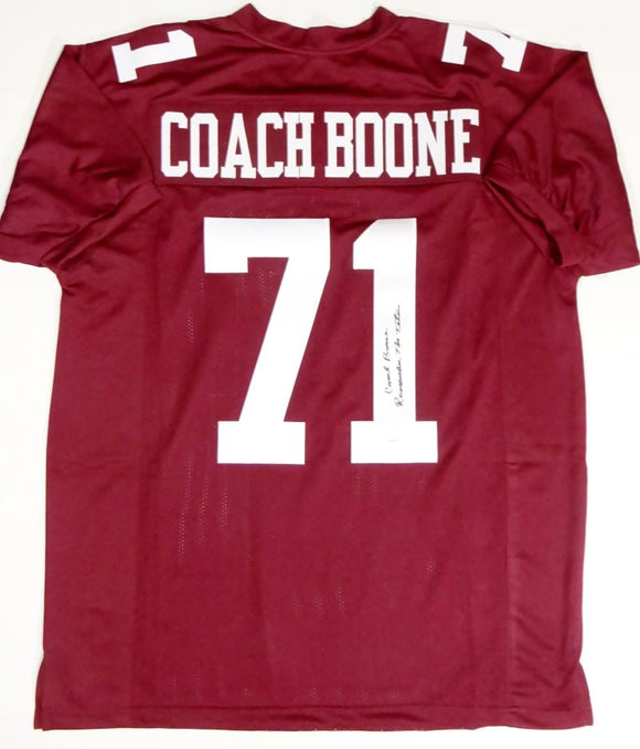 Coach Herman Boone Autographed Maroon College Style Jersey w/Insc - JSA W Auth *1