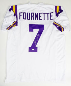 Leonard Fournette Autographed White College Style Jersey- JSA W Authenticated