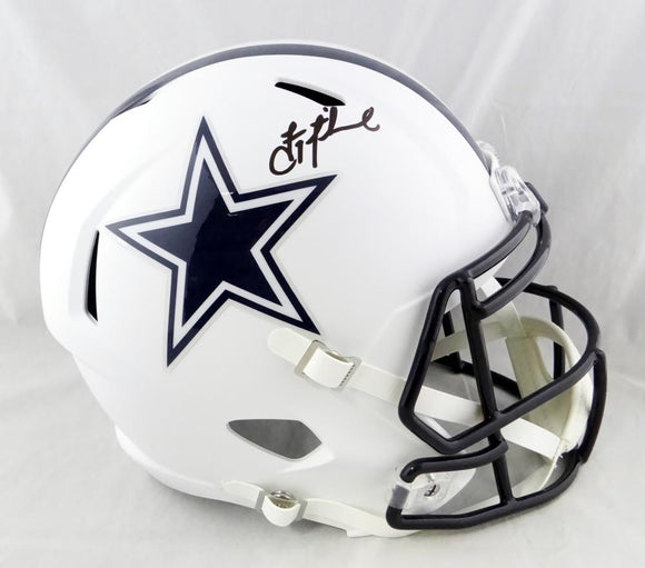 Troy Aikman Autographed Dallas Cowboys F/S Flat White Helmet- Beckett Auth *