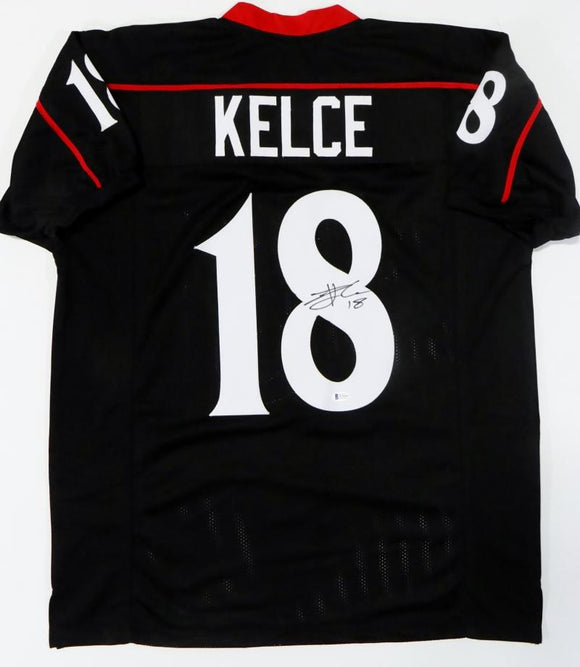 Travis Kelce Autographed Black College Style Jersey - Beckett Auth *8