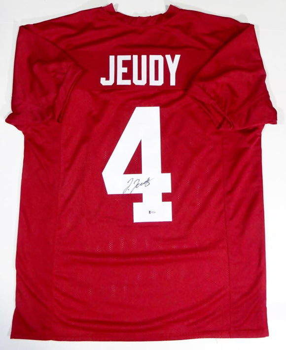 Jerry Jeudy Autographed Red College Style Jersey - Beckett W Auth *4