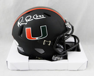 Michael Irvin Signed Miami Hurricanes Black Speed Mini Helmet- JSA W Auth *White