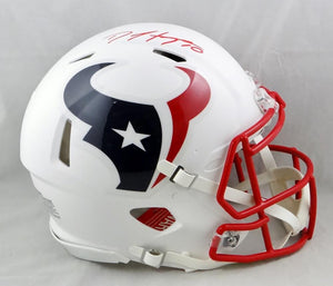 DeAndre Hopkins Autographed Houston Texans F/S Flat White Speed Authentic Helmet - JSA W Auth *