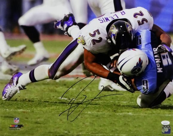 Ray Lewis Autographed Baltimore Ravens 16x20 Photo- JSA W Auth *Black