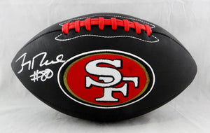 Jerry Rice #80 Autographed San Francisco 49ers Black Logo Football- Beckett Auth *Left