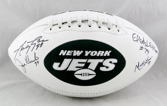 Sack Exchange Autographed New York Jets Logo Football - JSA W Auth *Black
