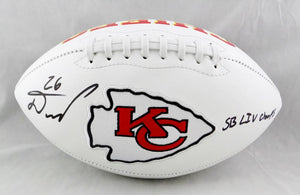 Damien Williams Autographed Kansas City Chiefs Logo Football w/ SB Champs - Beckett Auth