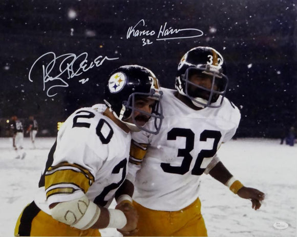 Rocky Bleier & Franco Harris Autographed Steelers 16x20 Snowing Photo - JSA W Auth *White