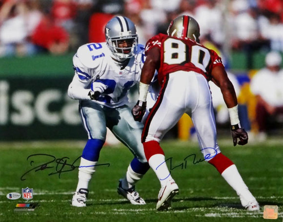 Deion Sanders / Jerry Rice Autographed 16x20 PF Sanders Vs Rice - Beckett Auth *Blue