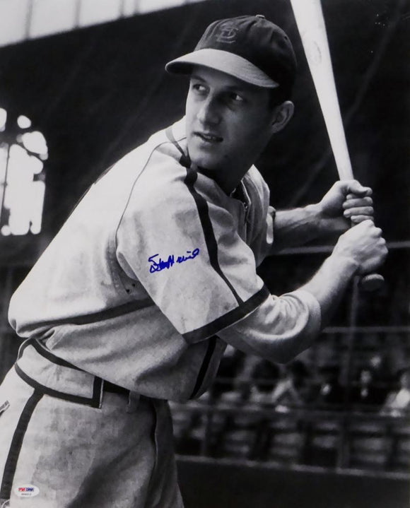 Stan Musial Autographed 16x20 B&W Batting Photo - PSA Auth