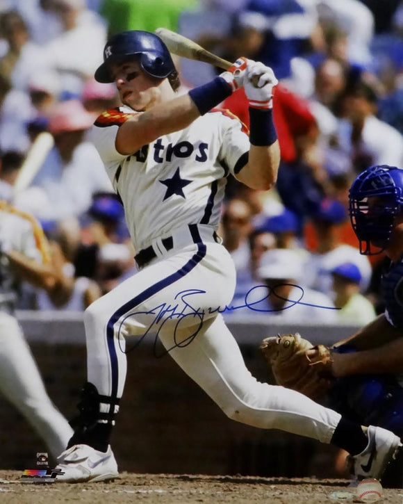 Jeff Bagwell Autographed Astros 16x20 White Jersey Batting PF Photo - Tristar Auth *Silver