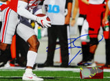 Denzel Ward Autographed OSU Buckeyes 8x10 Running W/ Ball PF Photo- Beckett Auth