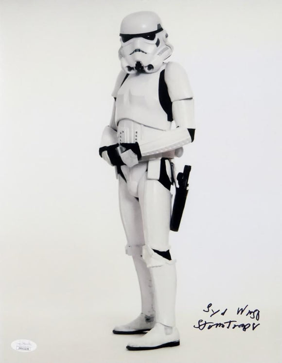 Syd Wragg Autographed Sideways Full Body 11x14 Photo w/ Stormtrooper - JSA Auth *Black