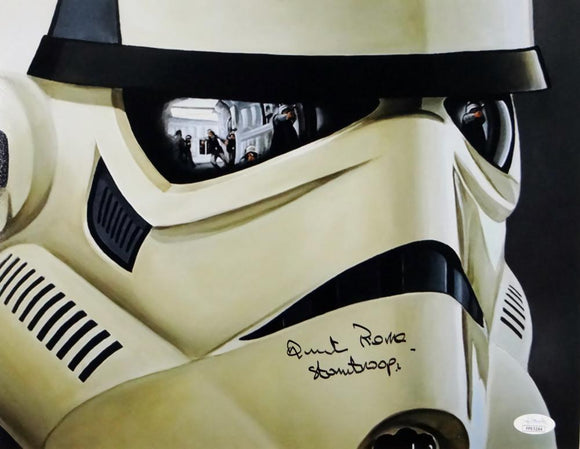 Quentin Pierre Autographed 11x14 Mask Close Up Photo w/ Stormtrooper- JSA Auth *Black