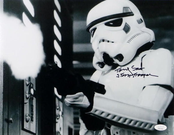 Tony Smith Autographed 11x14 Firing Gun Photo w/ Stormtrooper - JSA Auth *Black