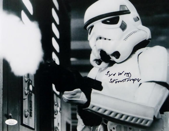 Syd Wragg Autographed 11x14 Firing Gun Photo w/ Stormtrooper - JSA Auth *Black
