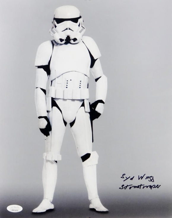 Syd Wragg Autographed Full Body 11x14 Photo w/ Stormtrooper - JSA Auth *Black