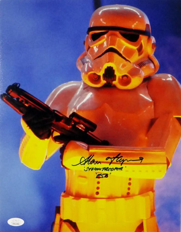 Alan Flying Signed Stormtrooper 11x14 Photo w/Stormtrooper ESB - JSA Auth *Black