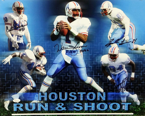 Run-N-Shoot Multi Autographed 16x20 Houston Oilers Photo- JSA W Authenticated