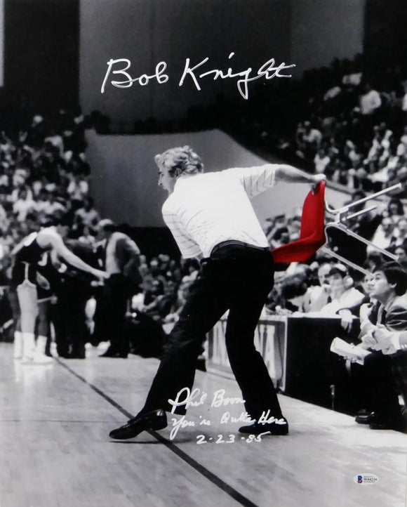 Bob Knight & Phil Bova Autographed 16x20 Red Chair Photo w/Insc - Beckett Auth *White