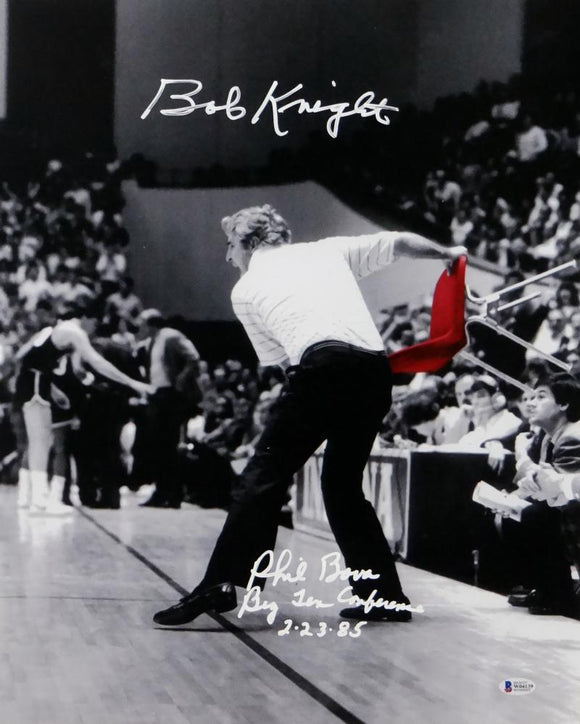 Bob Knight Phil Bova Signed 16x20 Red Chair Photo w/Insc- Beckett Auth *White