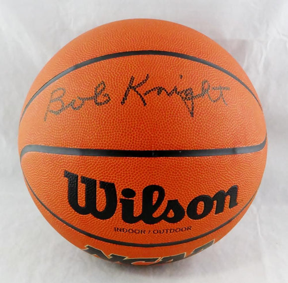 Bob Knight Autographed Wilson NCAA Basketball- Beckett Auth *Silver