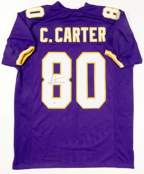 Cris Carter Autographed Purple Pro Style Jersey - Beckett Auth *