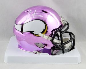 Cris Carter Autographed Minnesota Vikings Chrome Mini Helmet - Beckett Auth *White