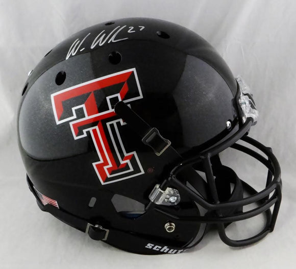 Wes Welker Autographed Texas Tech Black Full Size Helmet- Fanatics Authenticated