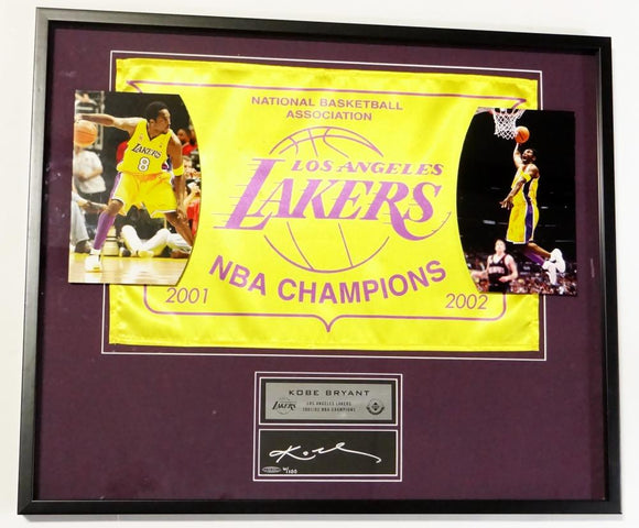 Kobe Bryant 6/100 Signed LA Lakers Framed 2001/02 NBA Champions Flag- UDA Auth