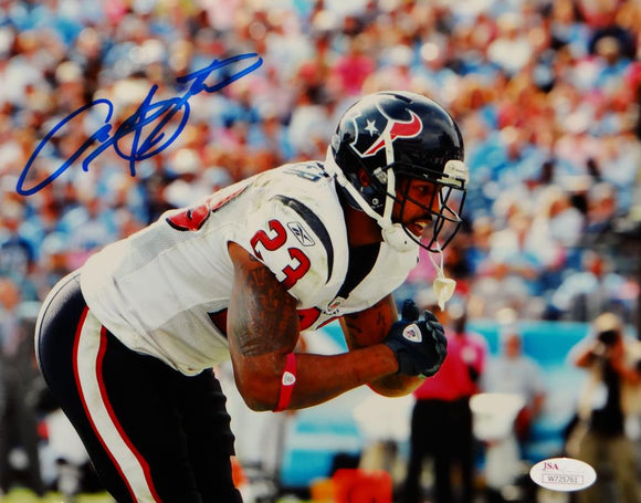Arian Foster Autographed Texans 8x10 Bow In White Jersey Photo- JSA W Auth
