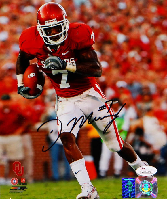 DeMarco Murray Signed 8x10 Oklahoma Sooners Running Photo- JSA Witness Auth *blk