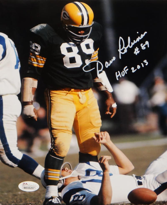 Dave Robinson Signed Packers 8x10 Standing Over Player Photo W/HOF- JSA W Auth