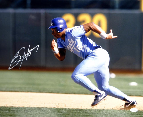 Bo Jackson Autographed Kansas City Royals 16x20 Running *White Photo- JSA W Auth