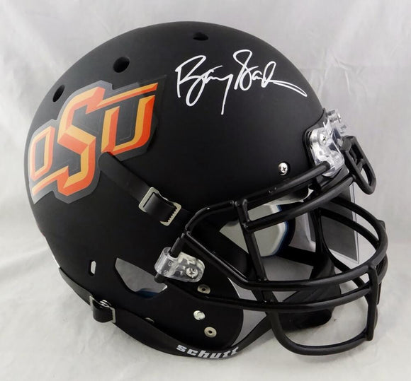 Barry Sanders Autographed Oklahoma State F/S Black Authentic Helmet - JSA W Auth *White