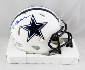 Roger Staubach Autographed Dallas Cowboys Flat White Mini Helmet- Beckett Auth *Blue