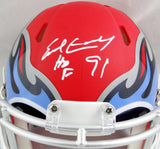 Earl Campbell Autographed Tennessee Titans AMP Speed Mini Helmet w/ HOF- JSA W Auth *White