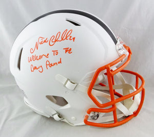 Nick Chubb Autographed Cleveland Browns F/S Flat White Speed Authentic Helmet - Beckett Auth *