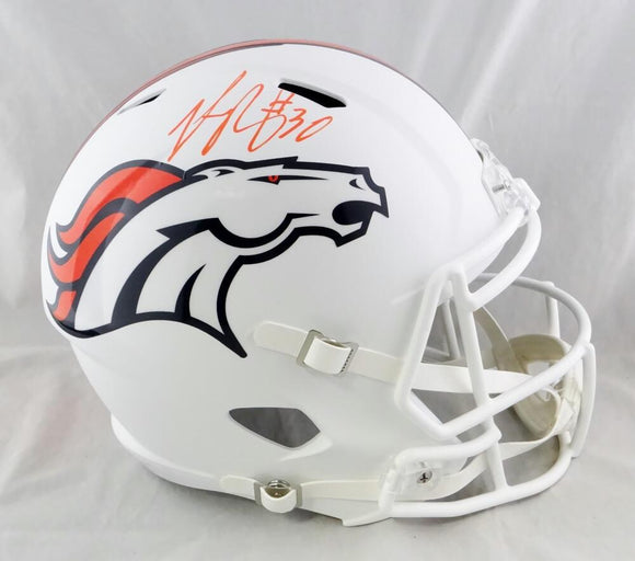 Phillip Lindsay Autographed Denver Broncos F/S Flat White Speed Helmet - JSA W Auth *Orange