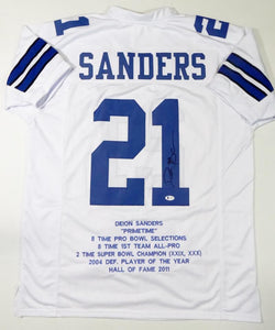 Deion Sanders Autographed White Pro Style STAT Jersey - Beckett W Auth *1