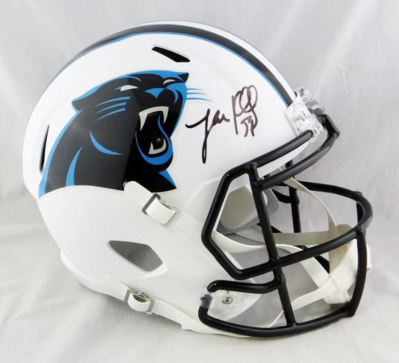 Luke Kuechly Autographed Carolina Panthers F/S Flat White Speed Helmet- Beckett Auth *Black