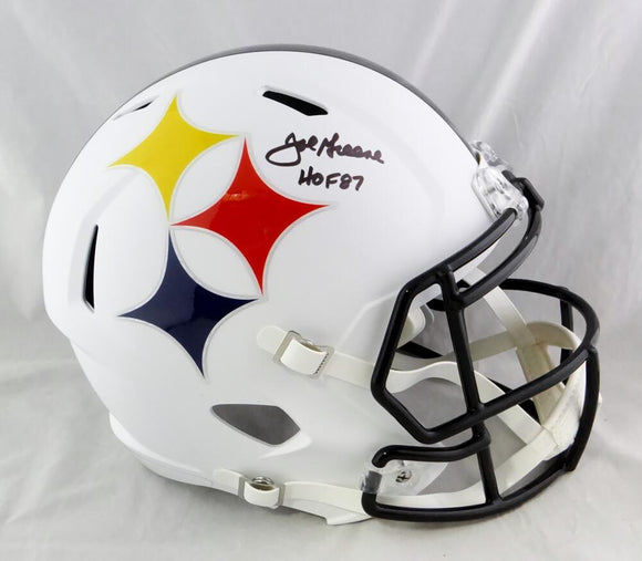 Joe Greene Autographed Pittsburgh Steelers F/S AMP Speed Helmet w/ HOF - Beckett Auth *Black