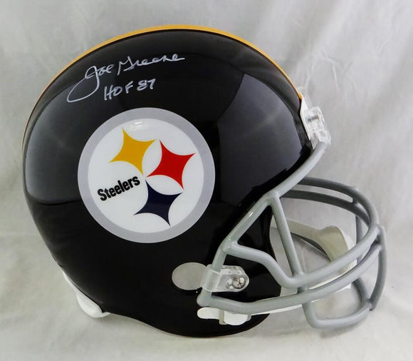 Joe Greene Autographed Steelers F/S 63-76 TB Helmet w/ HOF - Beckett Auth *White